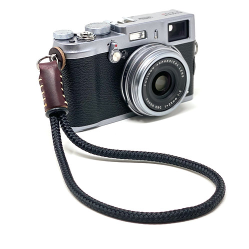 CORDY SLIM Black Braided Cord Camera Wrist Strap with Horween Chromexcel Leather