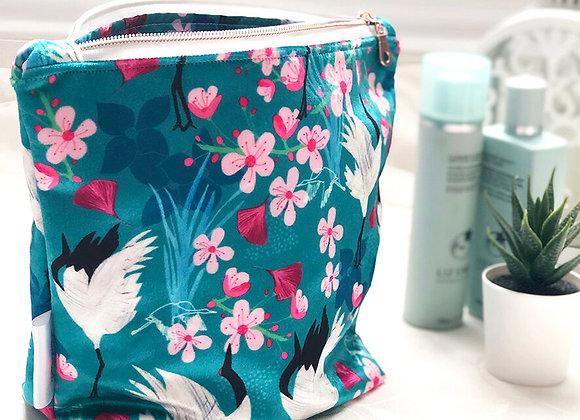 Shimmer Velvet Wash Bag - Red Crowned Cranes