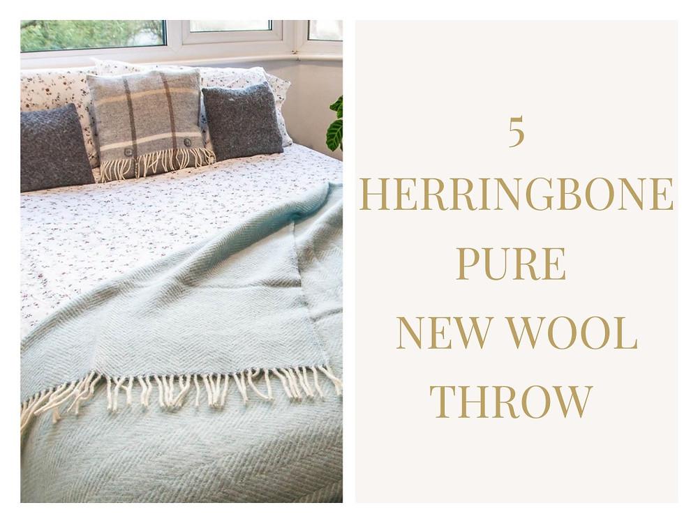 Herringbone Pure New Wool Throw  - Wool Blanket Online