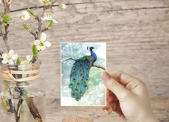 Tiny Prints, Peacock Art, ACEO in the UK, Miniature Prints, Peacock Decor
