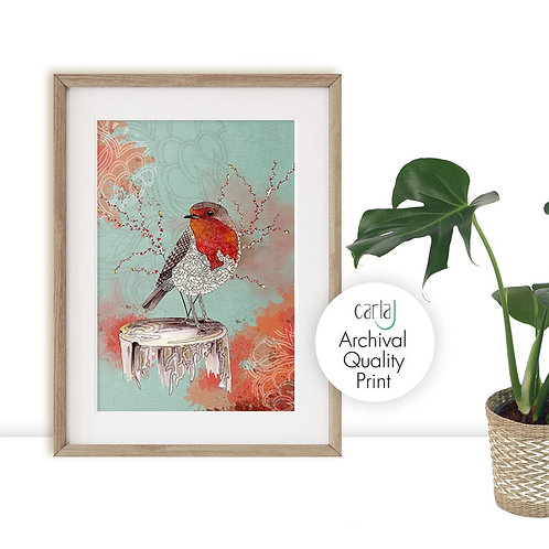 Robin Red Breast, Bird art print
