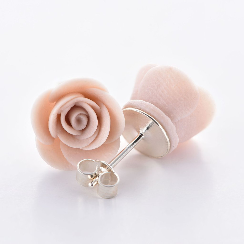 Ellie Lane: Porcelain Rose Stud Earrings