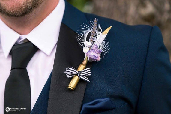 Feather and Floral Buttonhole