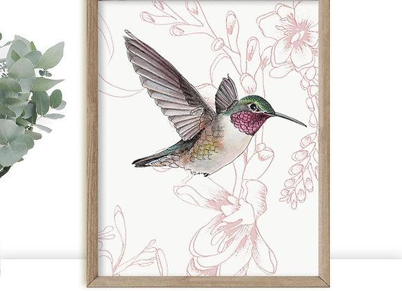 Hummingbird set of 2 art prints, Hummingbirds wall decor,