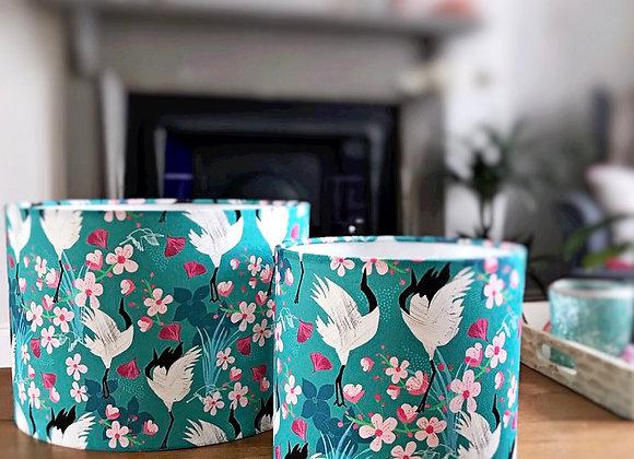 Crane and Cherry Blossom Lampshade