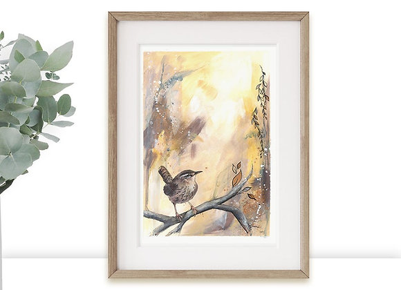 Wren Bird Limited Edition A3 A4 Art Print