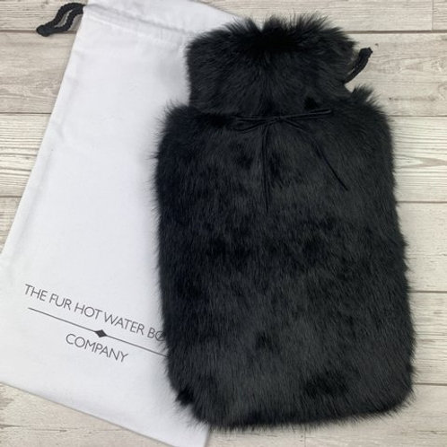 Black Luxury Rabbit Fur Hot Water Bottle