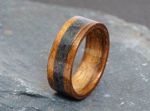 Amazaque And Welsh Slate Ring - Exotic African Wood And Dark Welsh Slate - £95