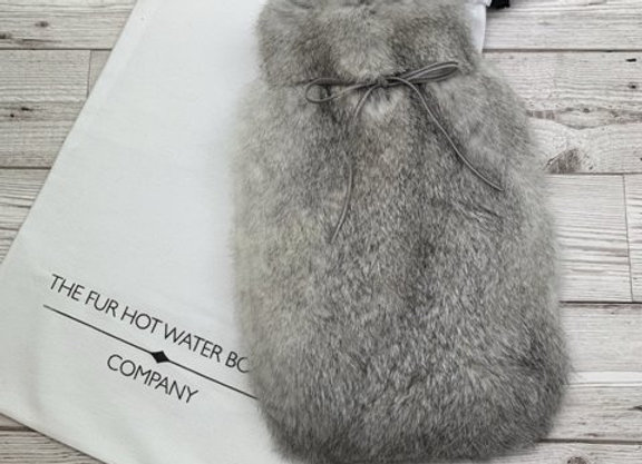 Chinchilla Grey Rabbit Fur Hot Water Bottle - Small