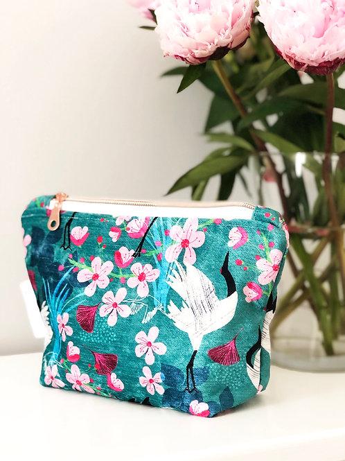 Shimmer Velvet Zipper Pouch - Crane & Blossom