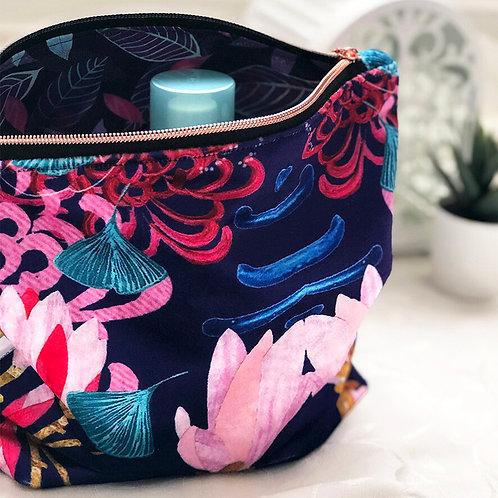 Shimmer Velvet Wash Bag - Midnight Florals