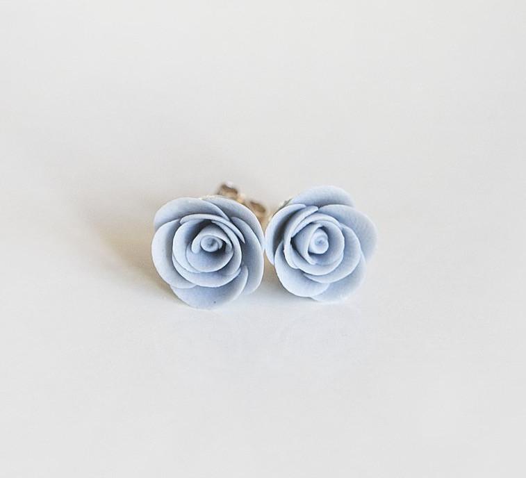 Porcelain rose earrings in dusky blue - Ellie Lane