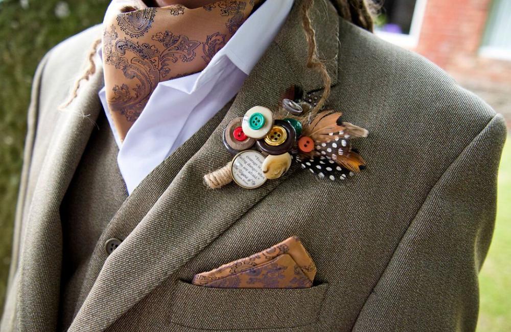 Vintage Style Cravat, Pocket Square and Buttonhole
