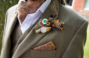 Vintage Style Cravat, Pocket Square and Buttonhole