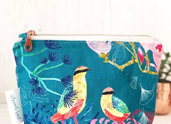 Cotton Zipper Pouch - Songbirds