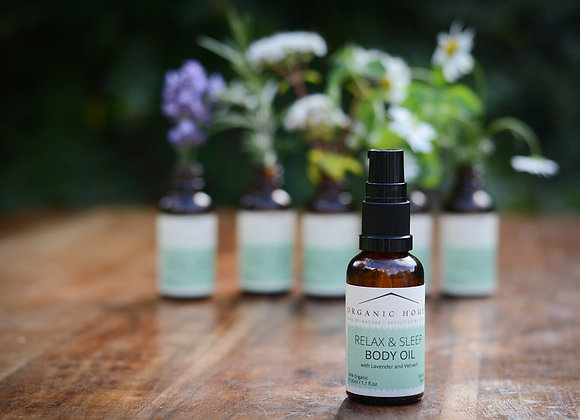 Relax & Sleep Bedtime Body Oil with Vetiver and Lavender