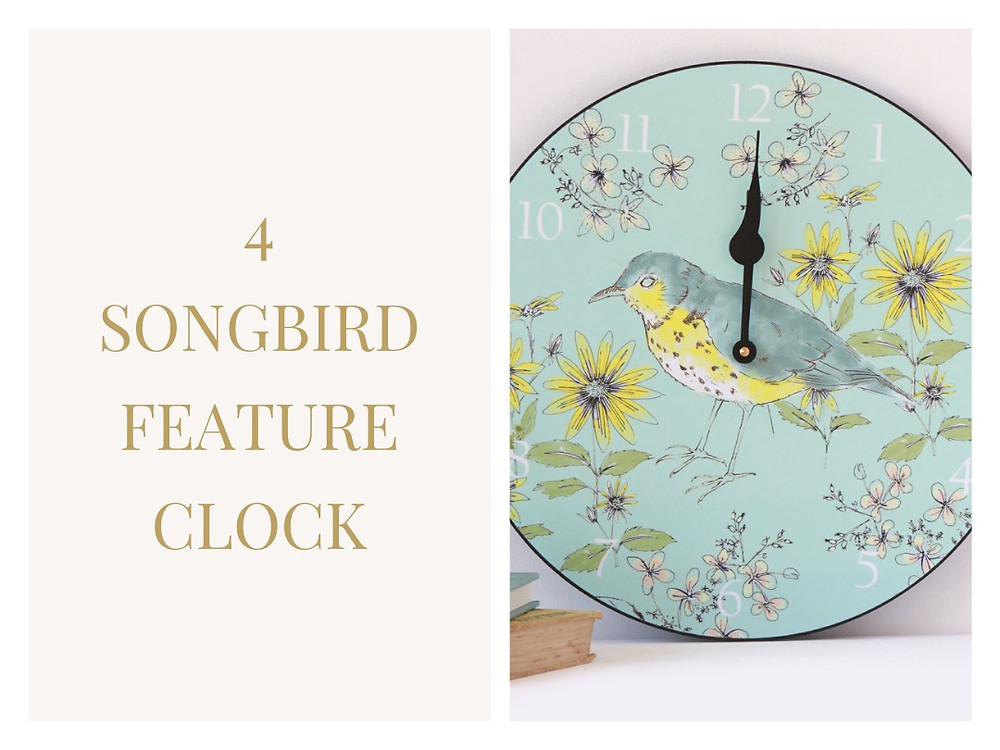 Song Bird Feature Clock - Seed Home Designs