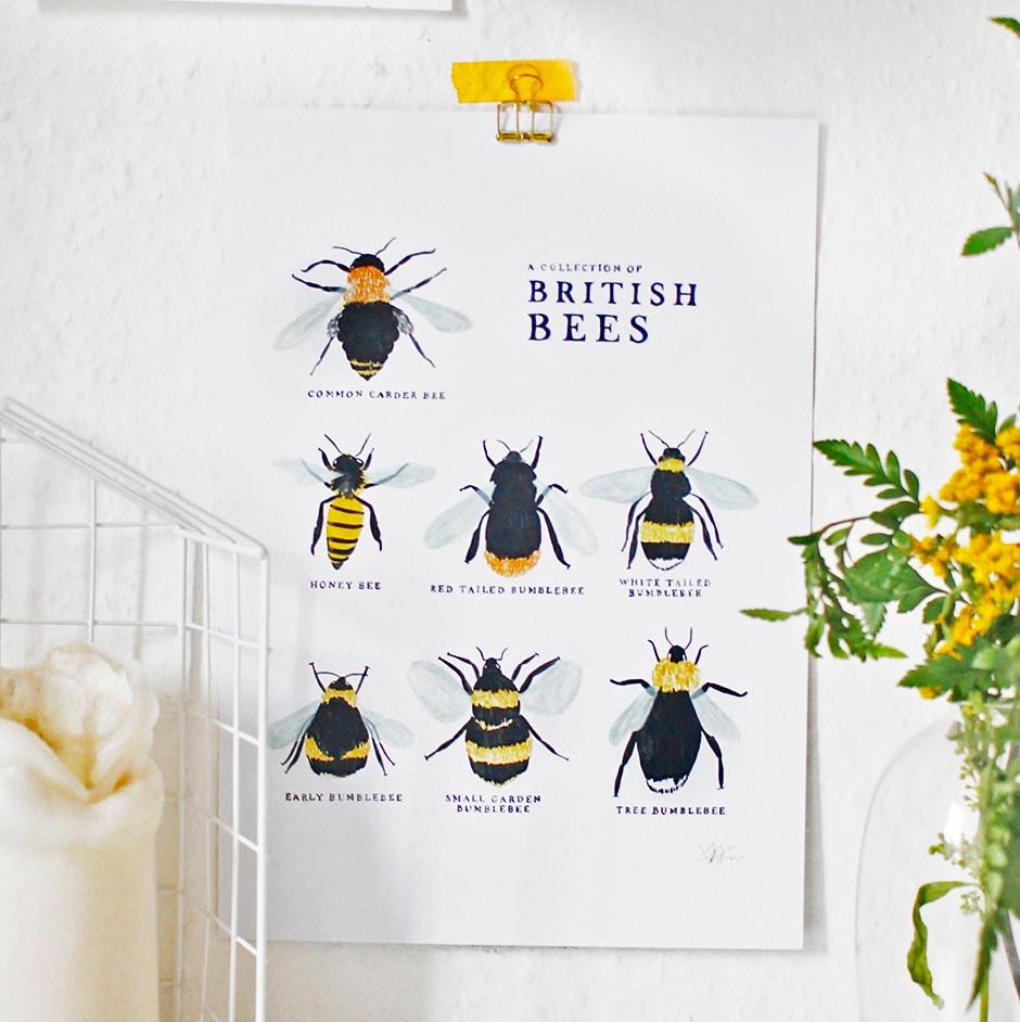 British Bees Print