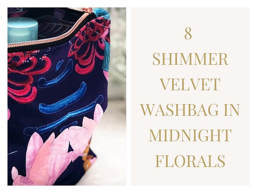 Shimmer Velvet Wash Bag Midnight Florals from Amanda West's designs