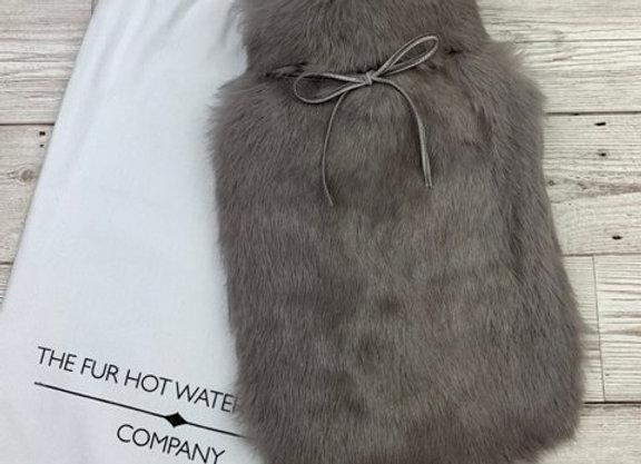 Grey  Fur Luxury Hot Water Bottle - Small - Luxury Gift
