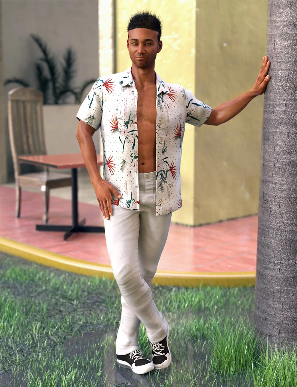 Image shows a man looking relaxed and happy, leaning against a tree and wearing an open Hawaiian-style shirt, white trousers and black and white trainers. The outfit is the Party Oahu Outfit from Daz3D.
