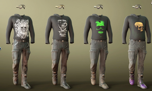Image shows additional four textures (Gruesome Goth: Rebel Textures) for the Gruesome Goth Outfit for Genesis Male for Daz3D.