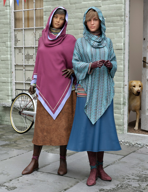 Image shows two women wearing the dForce Chill: Glacial texture pack for Daz3D - winter boots, midi skirt, poncho, cowl and gloves, by Moonscape Graphics.
