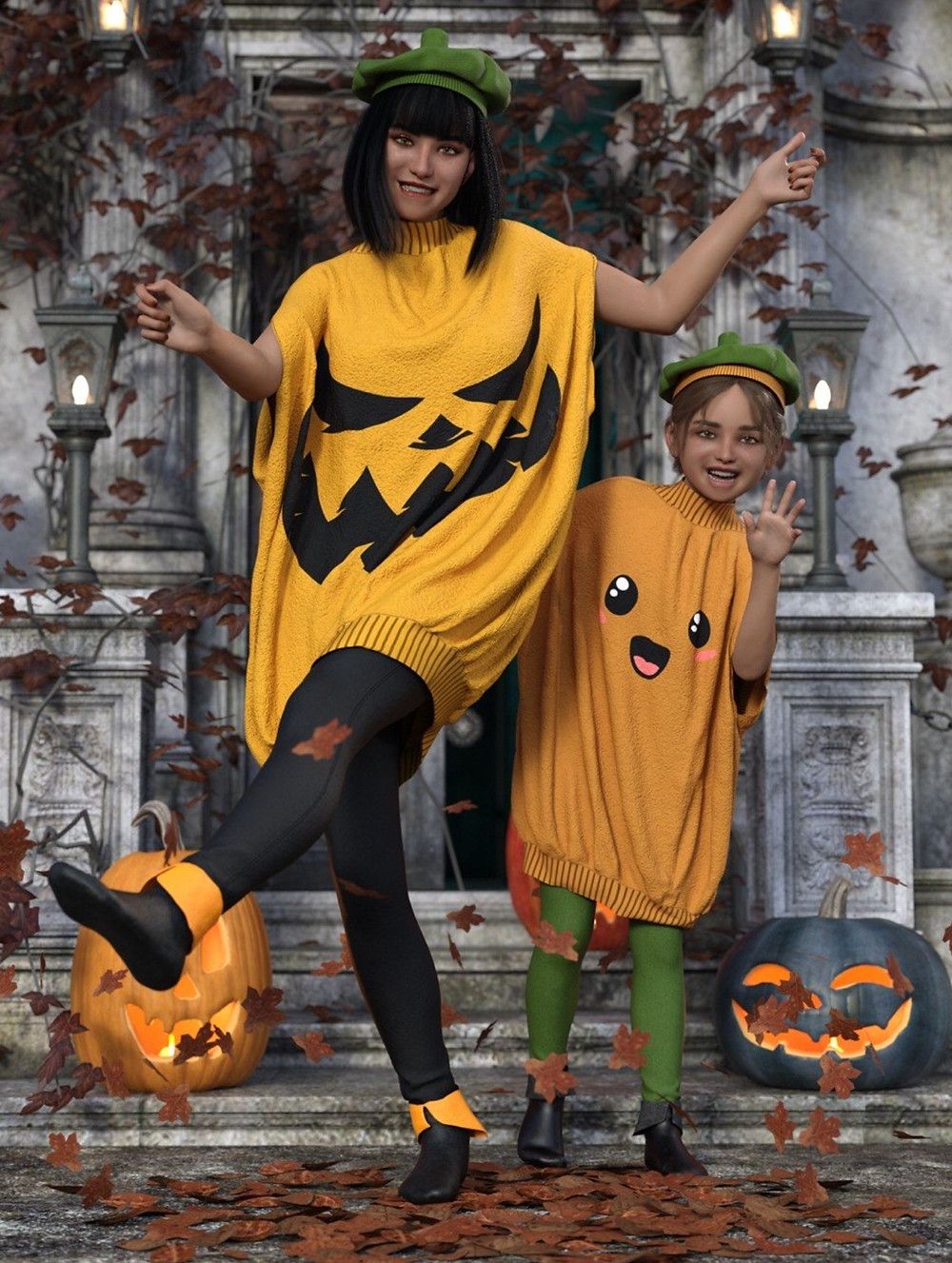 Image shows a woman and young child dressed in oversized pumpkin-style jumpers, ready to go trick or treating. Both are wearing the dForce Punkin Outfit for Genesis 8 Female(s) from Moonscape Graphics for Daz3D.