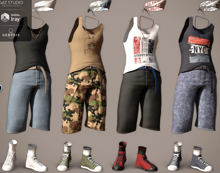 Image shows the four additional outfit textures that can be purchased for dForce Street Smarts Outfit from Daz3D.