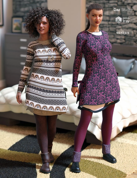 Image shows two women wearing the Winterdayz: WinterFun Texture Pack by Moonscape Graphics for Daz3D - a long jumper with underlayer and complementary coloured tights and boots.