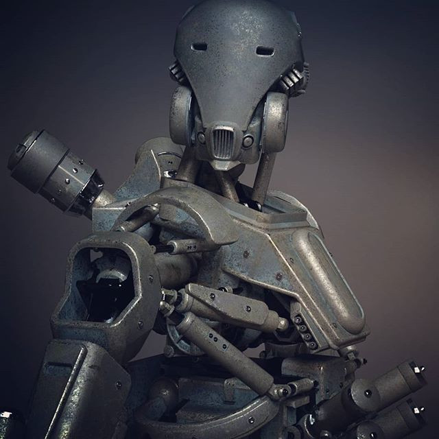 3D render of a metal cyborg humanoid robot with respirator