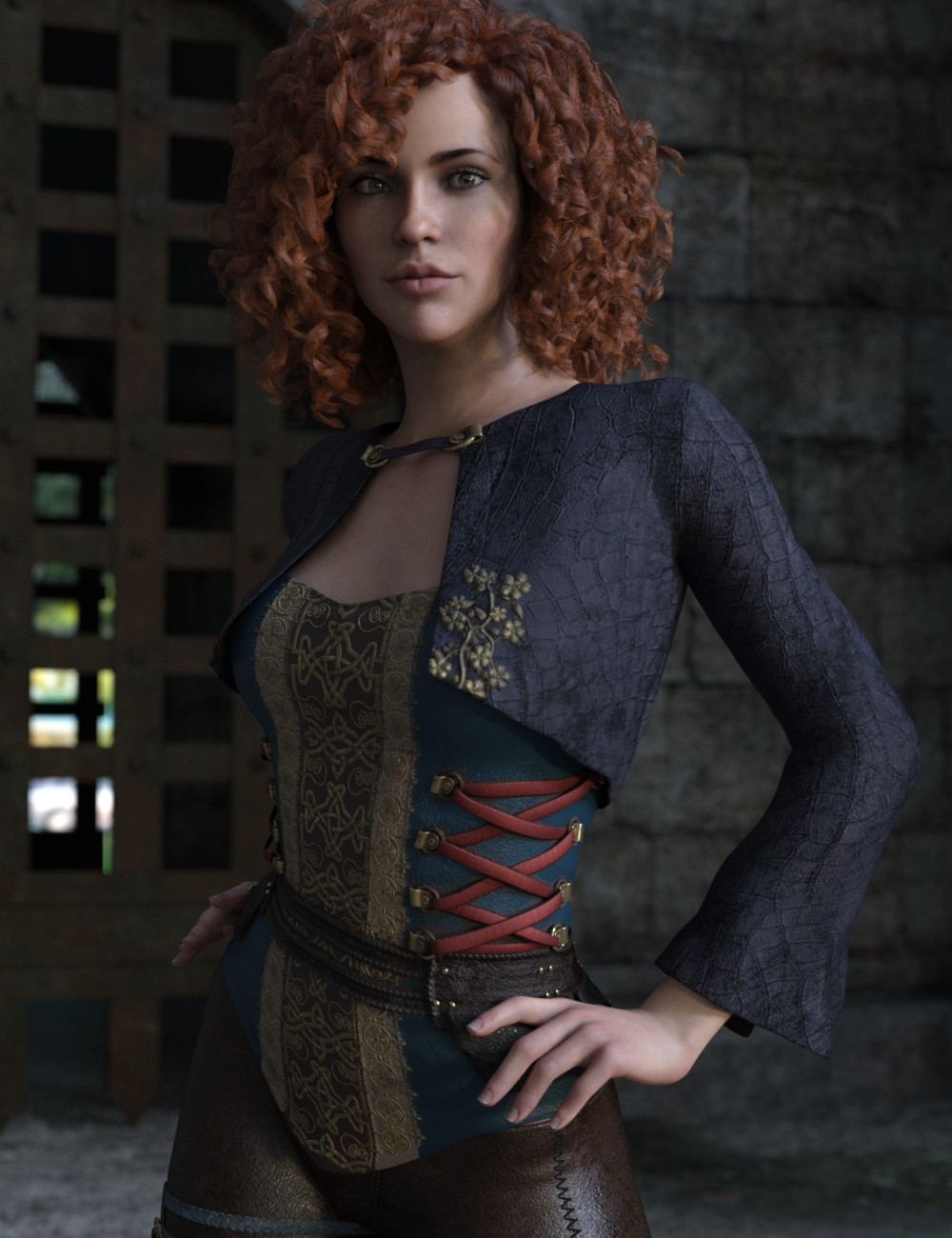 Red headed woman wearing Soul Keeper Outfit by Moonscape Graphics and Sade for Daz3D
