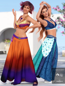 Image shows two woman dancing and wearing the dForce Roma Dancer Outfit Textures Pack by Moonscape Graphics