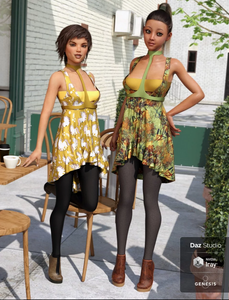 Two women standing by outdoor coffee table, wearing pretty, spring dresses and leggings - from the Daz3D Indo Spring Outfit