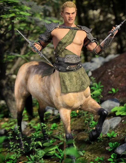 Image shows male centaur with a weapon in each hand, wearing dForce Dimeros Outfit for Centaur 8 Male(s) for Daz3D.