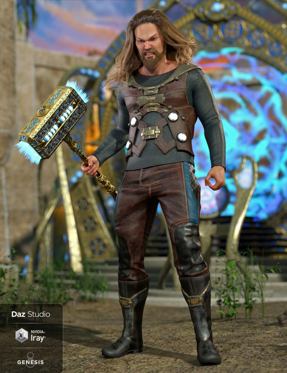 Thor like character holding a hammer