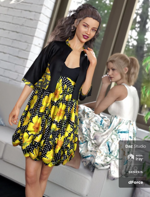Image shows two women wearing dForce Boho Boutique Bubble Dress for Genesis 8 Female(s) by Daz3D