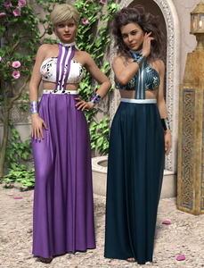 Image shows two Daz3D female characters wearing the dForce Helios Outfit Textures from Moonscape Graphics.