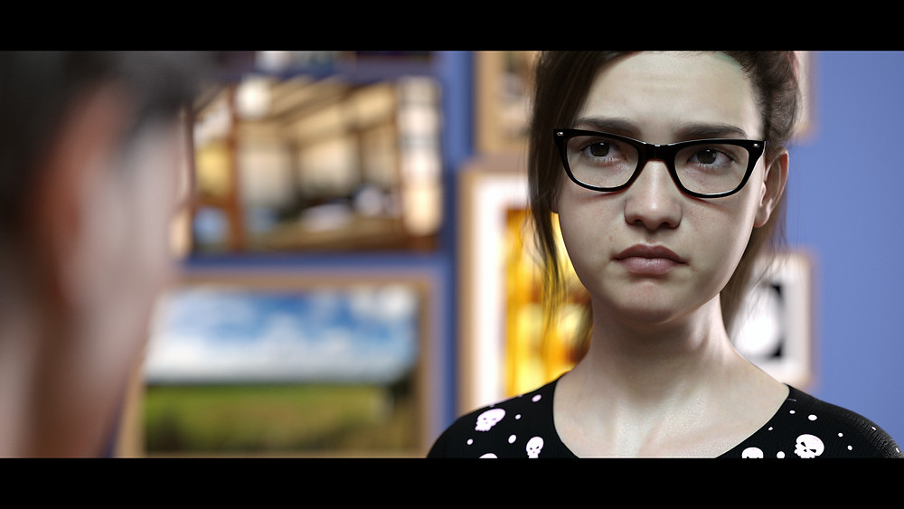 3D image render of an angry or upset girl wearing glasses and a ponytail