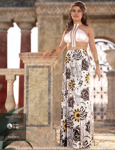 Image shows a Daz3D female character wearing a long, flowing, Grecian-inspired dress, set outside a stone palace backdrop.