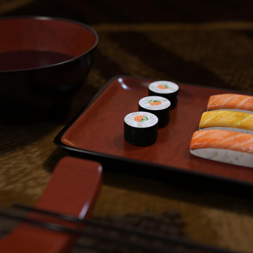 Daz3D image showing Moonscape Graphics' free sushi set