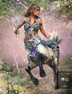 Image shows female centaur with sword in one hand and wearing the Forest Queen for Centaur Female 8 outfit for Daz3D.