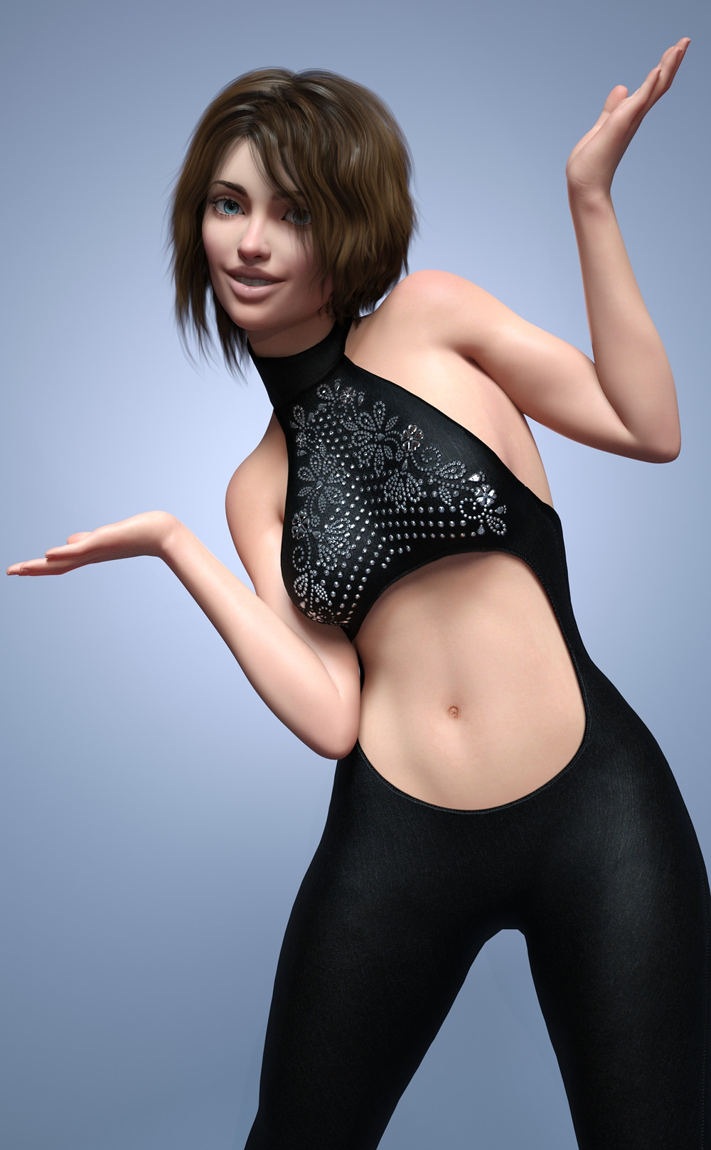 Woman with short, choppy dark hair wearing Daz3D dForce Flared Chic Outfit for Genesis 8 (all-in-one black, sleeveless suit with stomach hole cut out and sparkly embroidered pattern on chest
