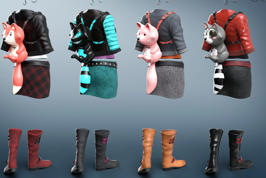 Image shows the additional textures for the Renardeau Outfit and highlights the cute, complementary animal backpacks