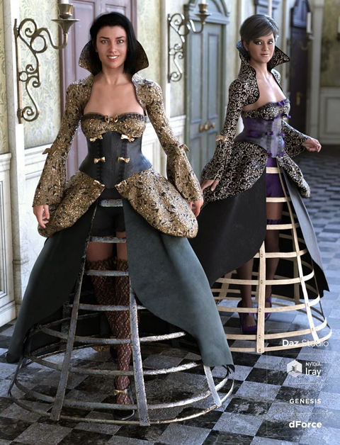 Image shows two women wearing the dForce Vintage Cage Dress Outfit Textures - a Victorian style cage dress with highly decorative details and features for Daz3D by Moonscape Graphics.