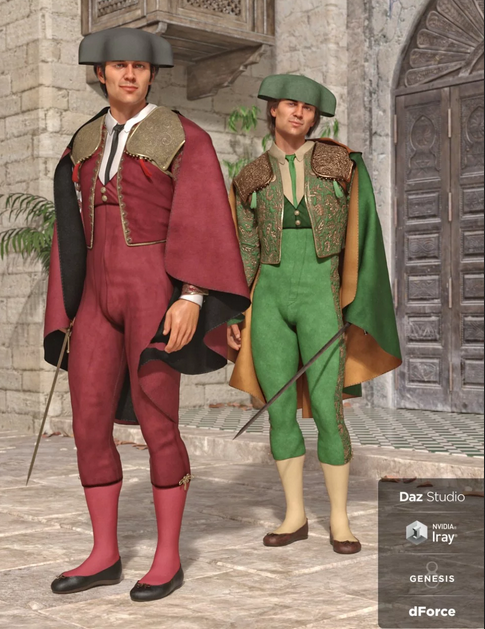 Image shows two men dressed in traditional dForce Matador Outfits from Daz3D, standing in a traditional Spanish street.