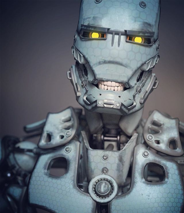 3D image render of cyborg humanoid robot with glowing yellow eyes