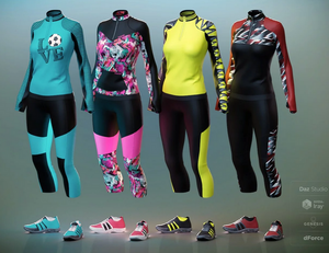Image shows the colourful textures available for the Soccer Mom Outfit from Moonscape Graphics for Daz3D.
