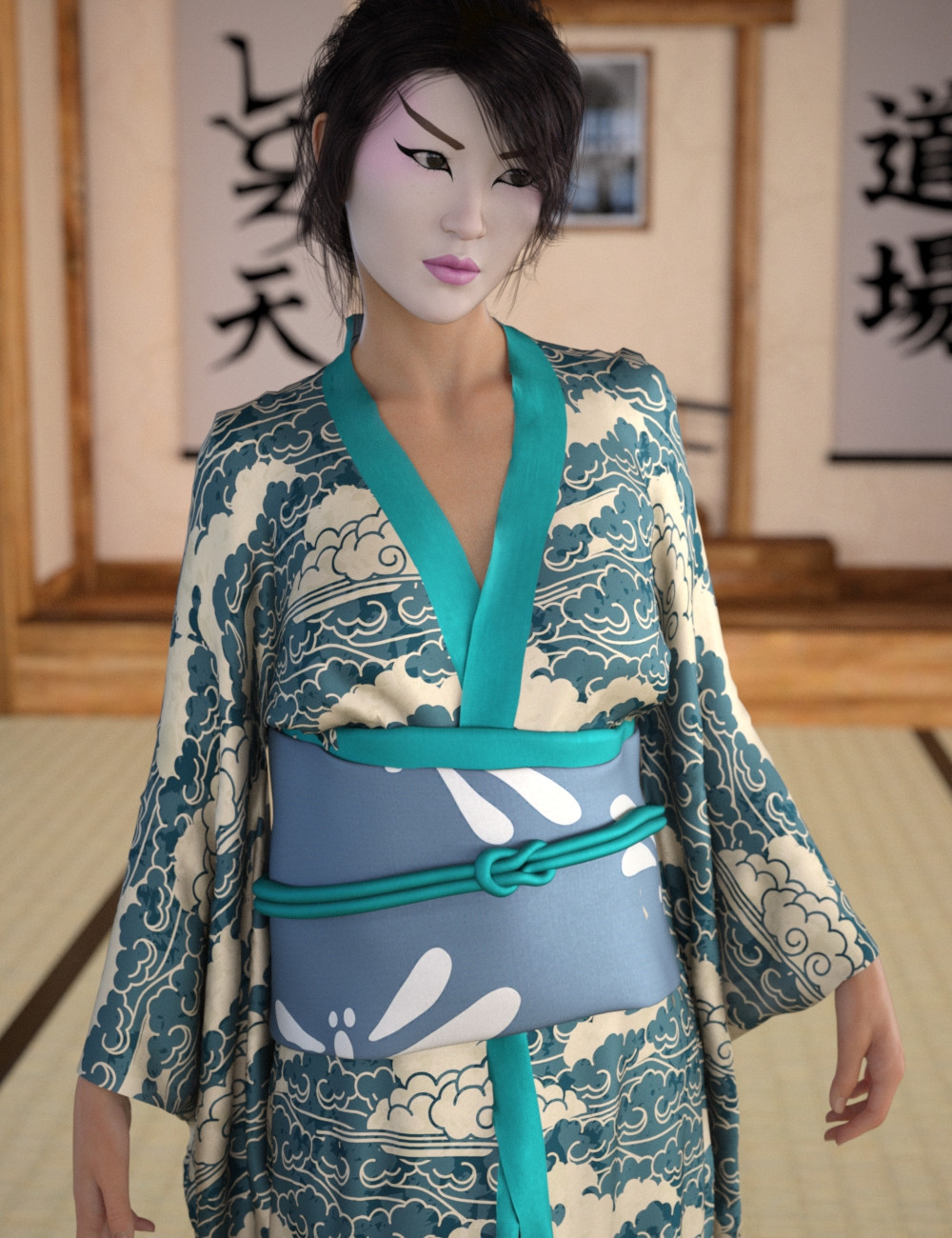 Japanese woman in traditional makeup wearing a green silk kimono with cloud pattern and standing in a traditional japanese room