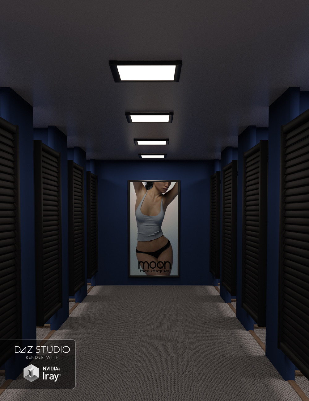 A view into the fitting rooms showing rows of changing cubicles on either side and a poster of a woman in underwear at the end of the room